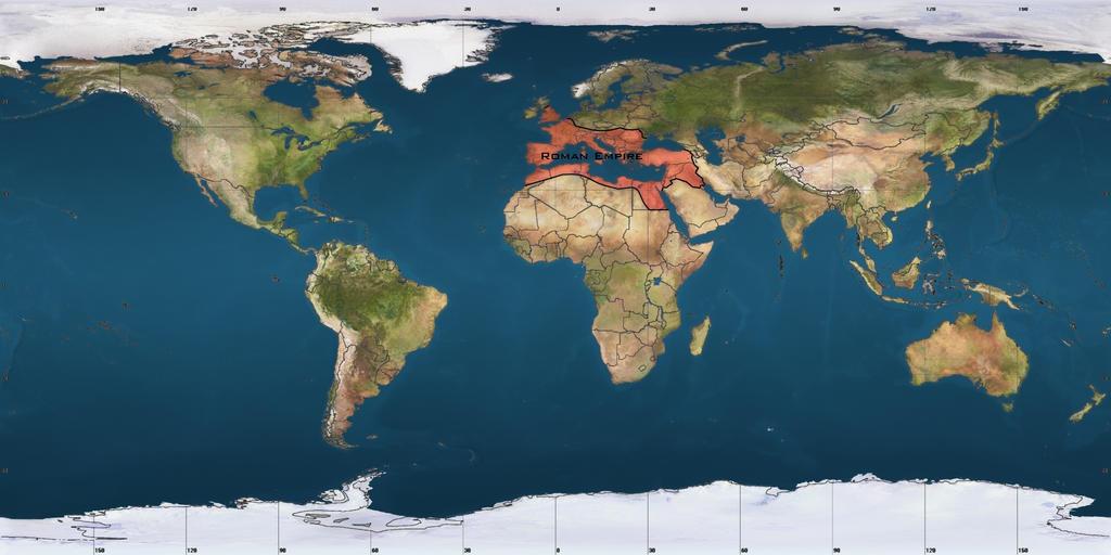World Satellite Map (With Roman Empire) by andru-hewitt on DeviantArt
