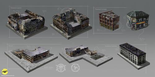 Afterfall buildings by MonsterInkStudio