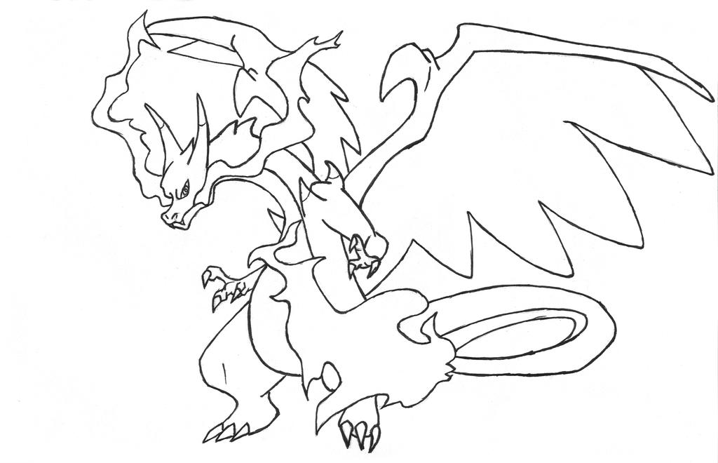 Mega Charizard X Para Colorear: Mega Charizard X Outline By Flamesazer On DeviantArt