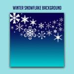 White Snow Flakes Over Blue Gradient