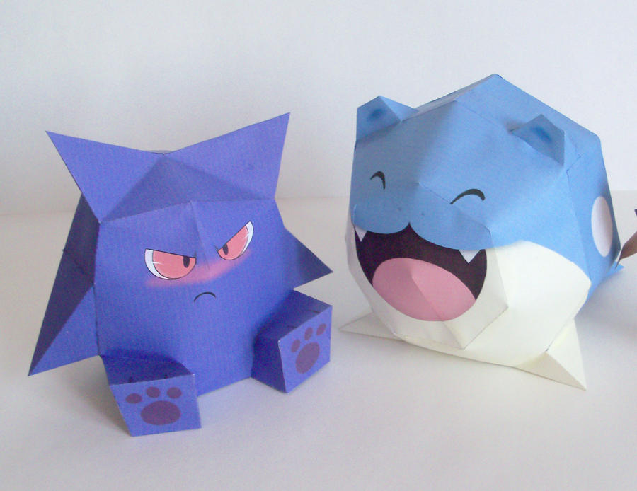 Gengar and Spheal - papertoys by P-M-F