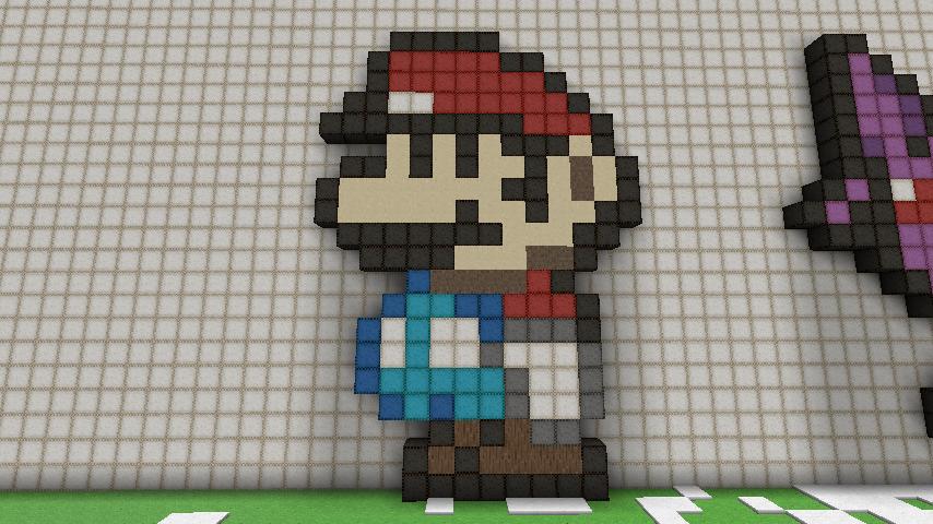 Minecraft Pixel Art Grid Mario