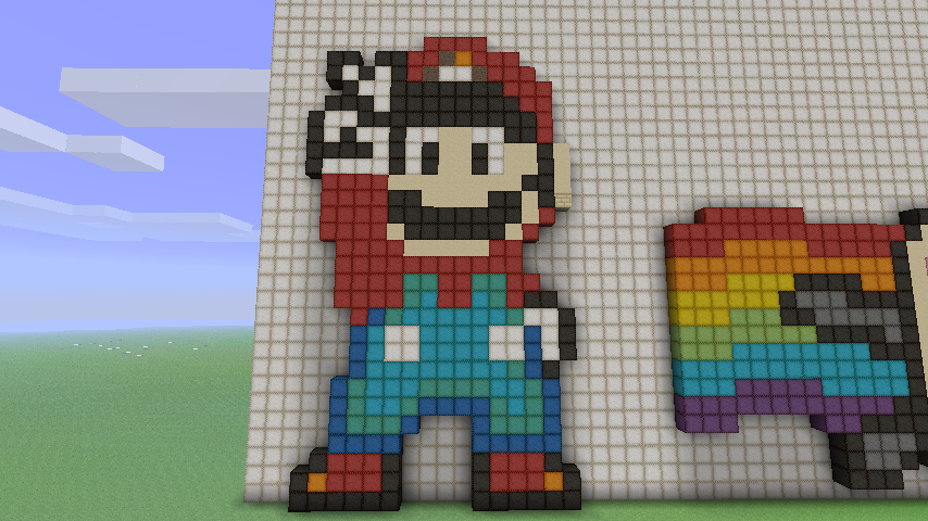 Пиксель арт марио в майне