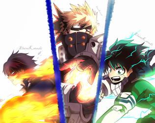 Boku No Hero Todoroki, Bakugou and Midoria