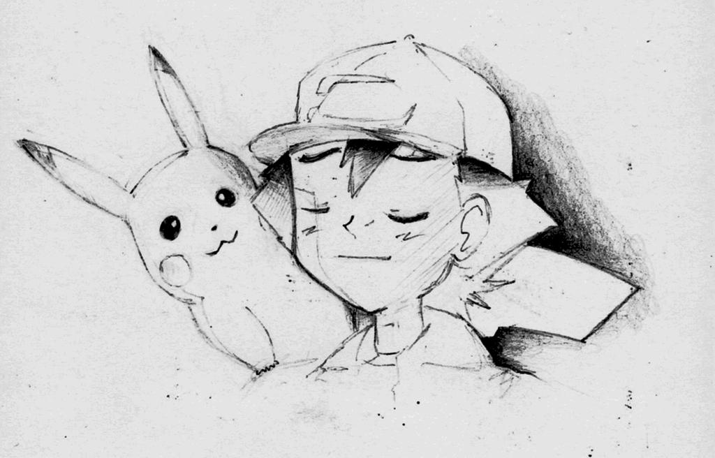 Ash and Pikachu Sketch by Ex-Soldier-Cloud