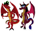 Jake Long and Mayzie Brooks as Dragons by srebak