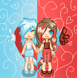 Oceana and Caramell pixel chibi by Chocoecaramell