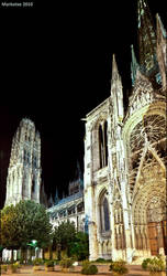 Rouen Cathedral by night by Markotxe