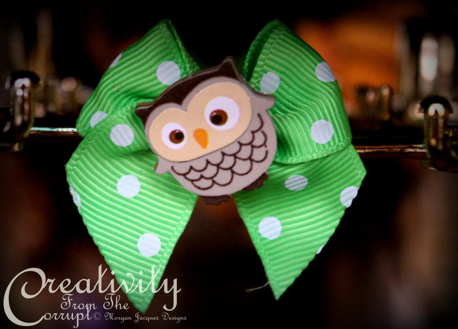 Hooty Owl Green Polka Dot Bow by CreativityFTCorrupt