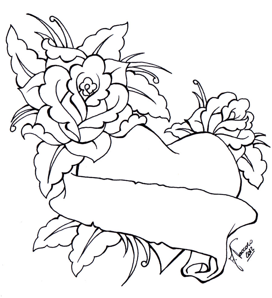 Heart And Rose Love Drawings Heart with Banner and Roses