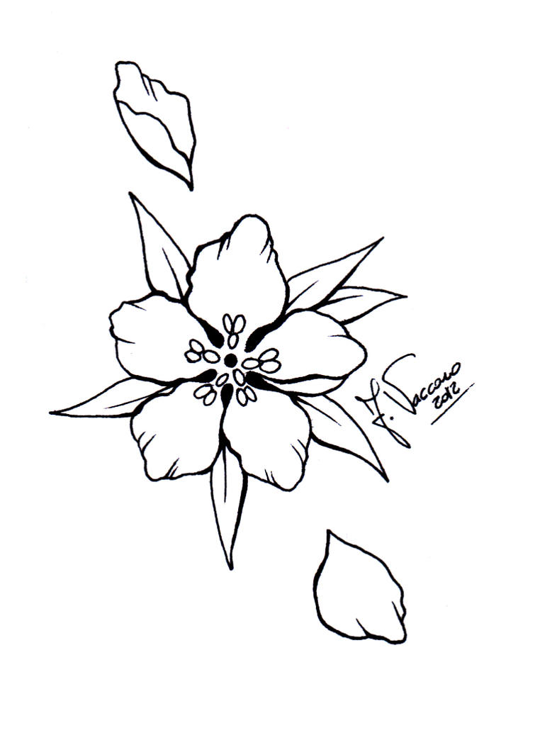 Line Art Flower Tattoo : Peach flower lineart by kauniitaunia on deviantart