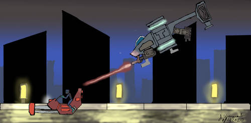 Mandalorian chase (Mandalorian fan art)