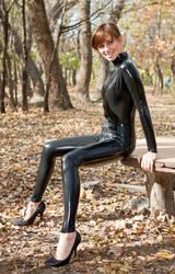 Black latex catsuit again