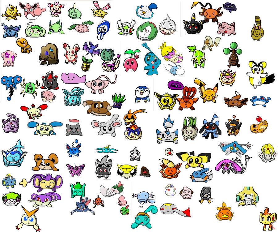 100 Flattened Pokemon by Pikacshu