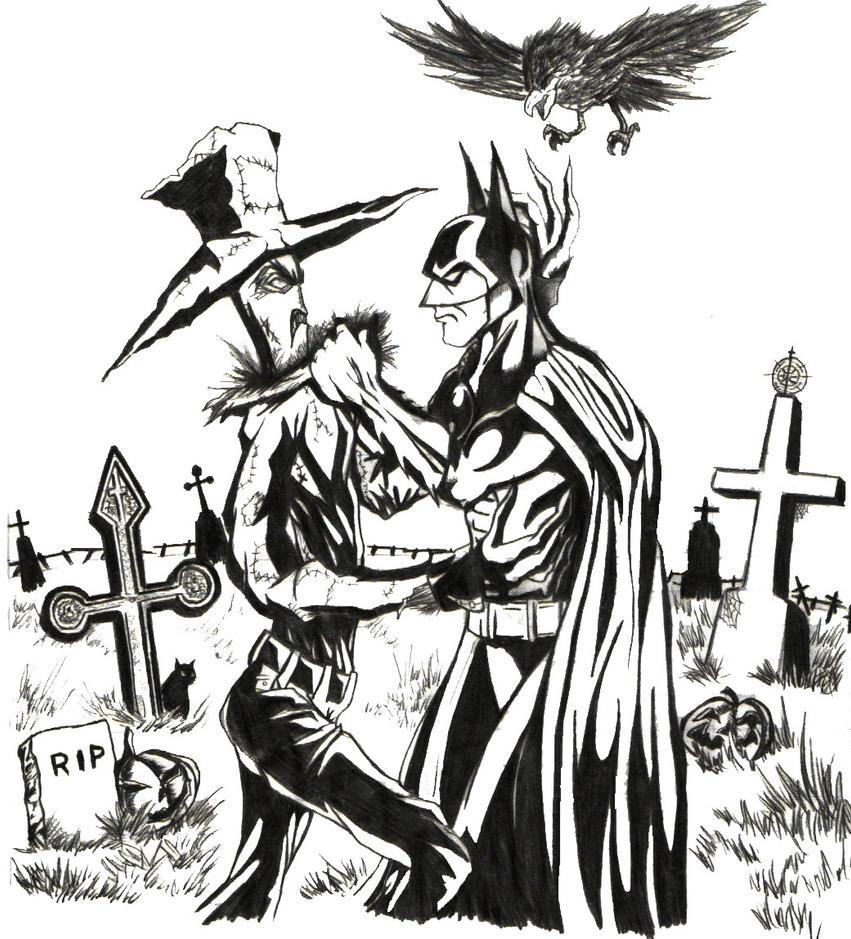 Batman Vs Scarecrow Sketch By IronMaiden720
