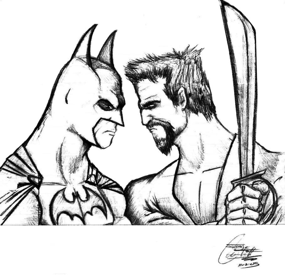 Batman vs Rah's Al Ghul sketch by IronMaiden720