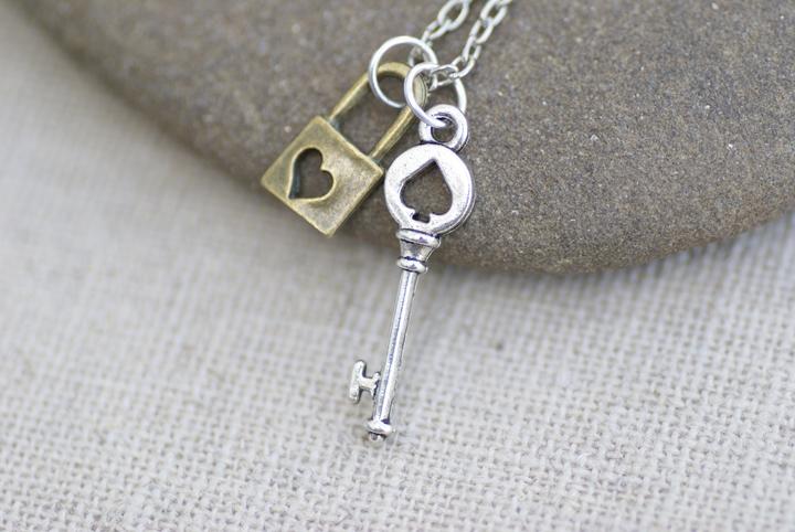 Tiny Key and Padlock Necklace by MonsterBrandCrafts