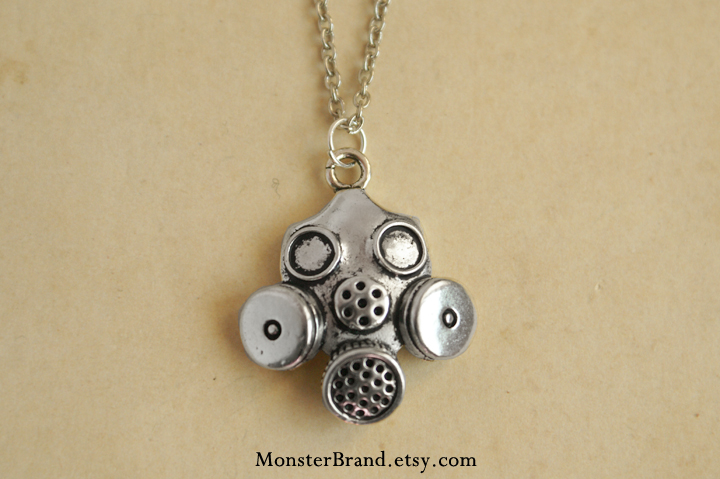 Gas Mask Necklace 2.0 by MonsterBrandCrafts