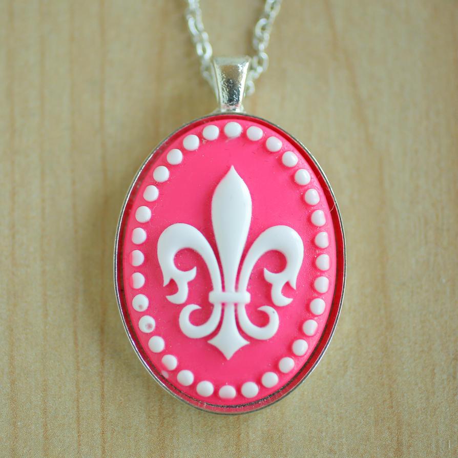 Pink Fleur de lis Necklace by foowahu-etsy