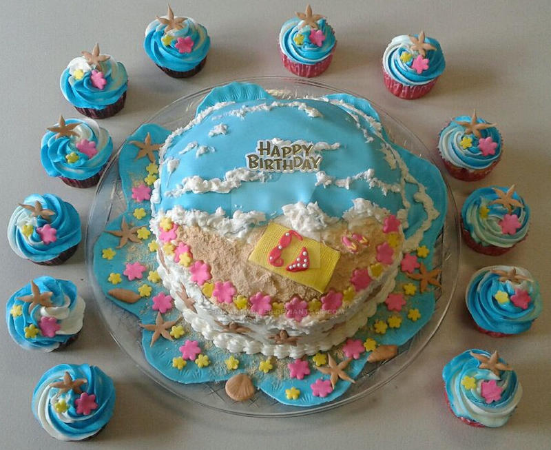 Birthday Ocean Beach Themed Cake Cupcakes By InkArtWriter
