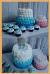 Baby Boy Shower/Big Sister Cake/Cupcakes by InkArtWriter