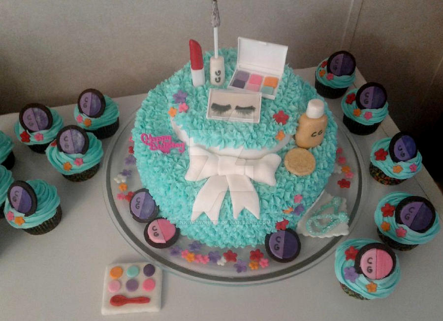 Makeup Birthday Cake/Cupcakes by InkArtWriter ...