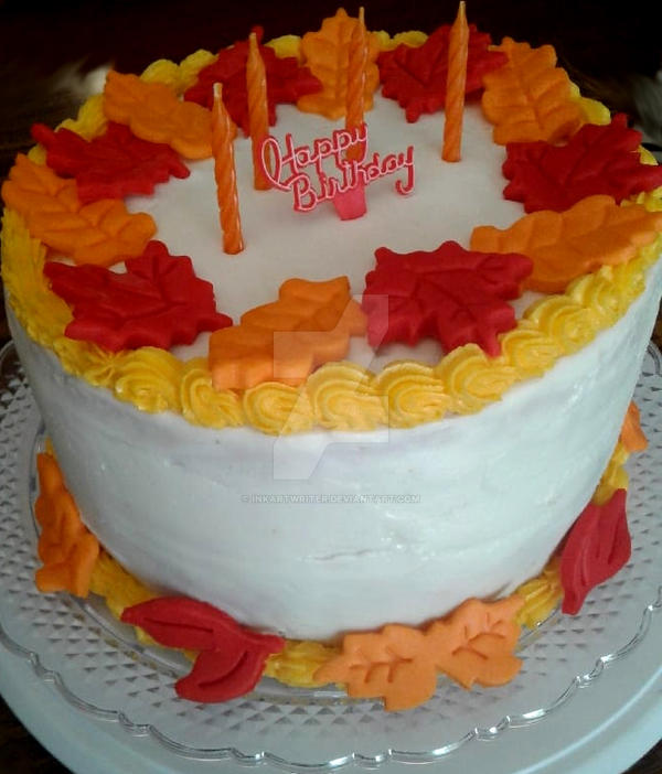 Fall Themed Birthday Cake By Inkartwriter On Deviantart