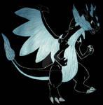 Drawn on Black: Mega Charizard X by InkArtWriter