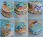 Birthday Beach Cake by InkArtWriter