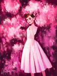 Audrey Hepburn Birthday Tribute - Pink Flowers
