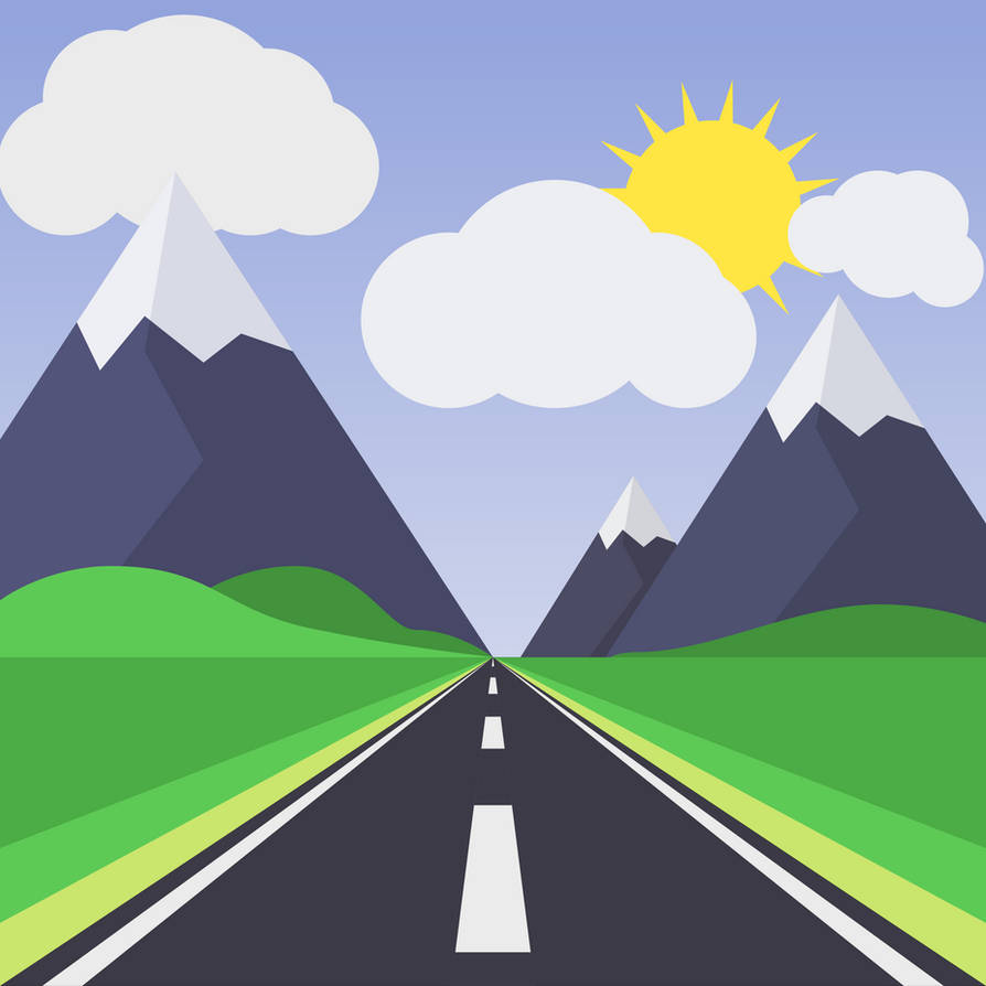 1 Point Perspective Mountain Road Scene