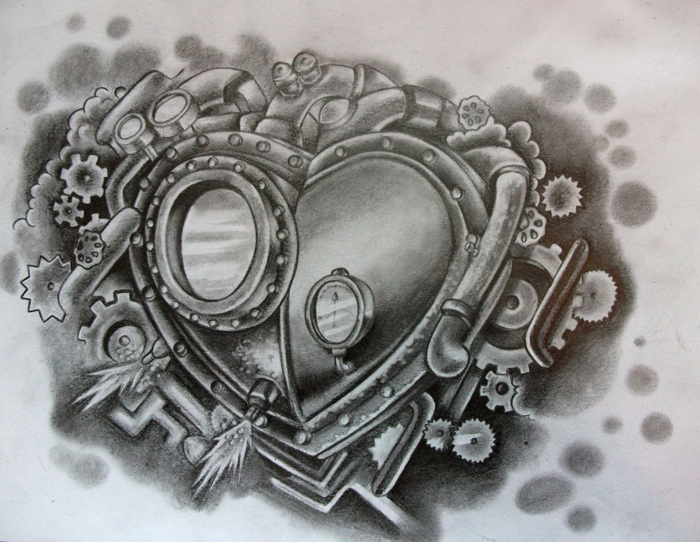 Steampunk Heart Tattoo Design by CircusBug