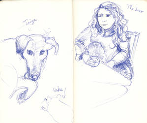 Sketchbook - Dog, rat and their big boss by Framagirl
