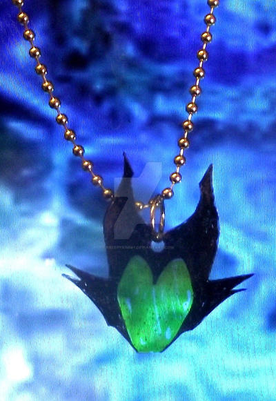 maleficent silhouette heart necklace by kreepykimmy on