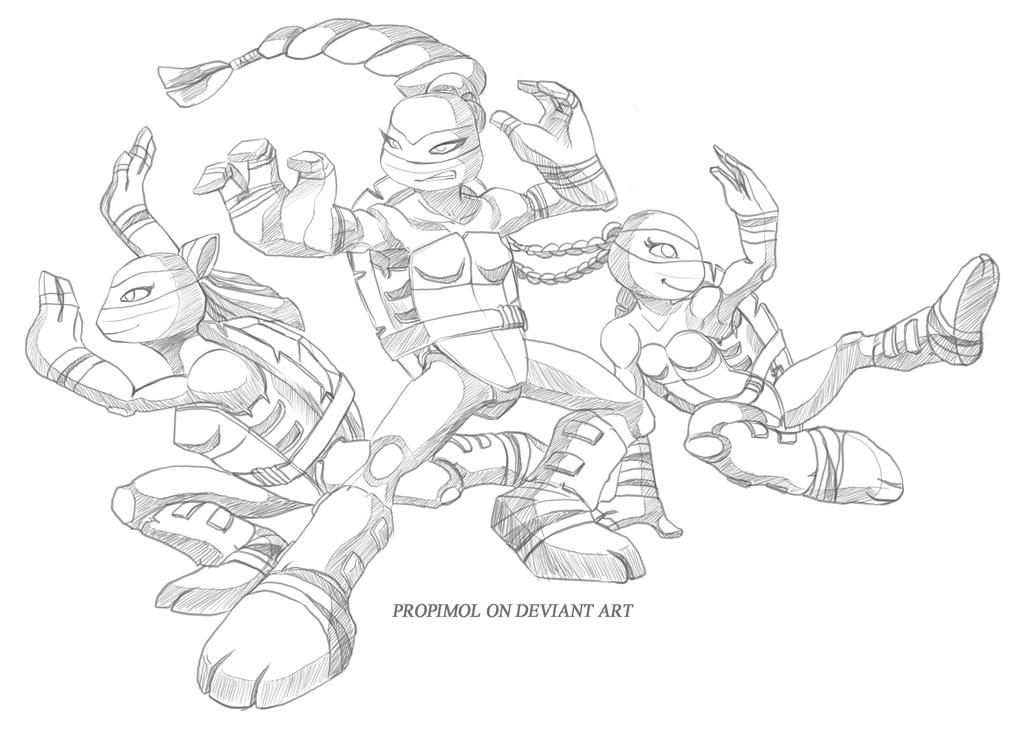 Tmnt 2003 coloring pages ~ TMNT Girls by propimol on DeviantArt