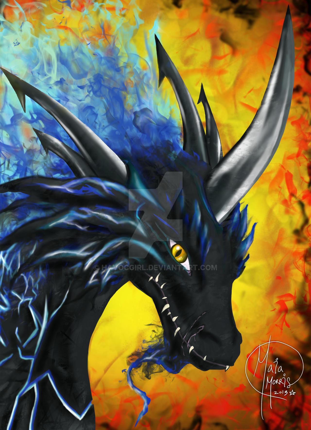 naked girl in blue dragon