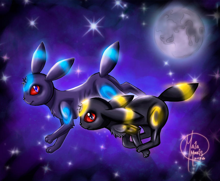 Shiny and Normal Umbreon by HavocGirl on DeviantArt