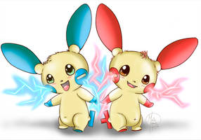 Plusle and Minun Attack Together!!! by HavocGirl