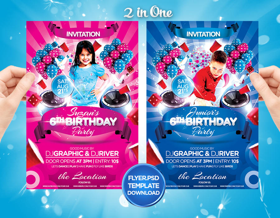 Kids Birthday Cake Flyer Invitation by Grandelelo
