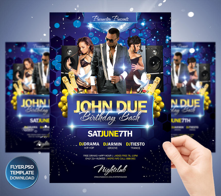 My Birthday Bash Flyer Template By Grandelelo On Deviantart
