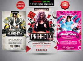 Party Flyer Bundle V4 by Grandelelo by Grandelelo