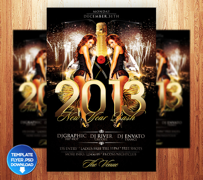 2013 New Year Eve Flyer Template by Grandelelo on DeviantArt