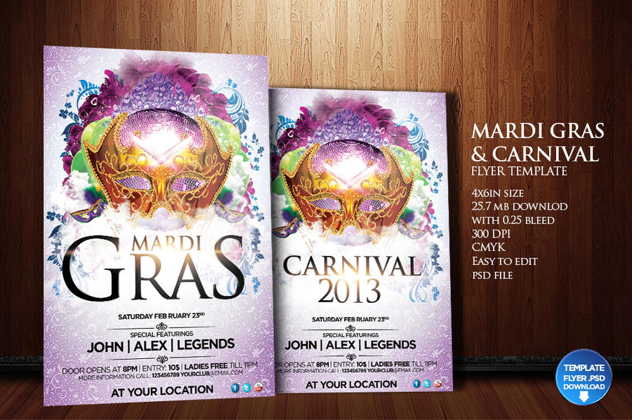 mardi gras carnival flyer template by grandelelo on deviantart