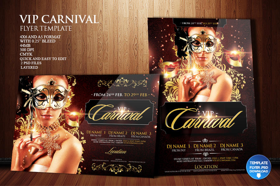 Mardi Gras / Carnival Flyer Template by Grandelelo on DeviantArt