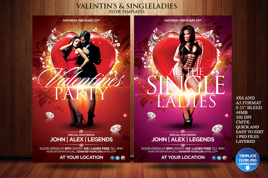 Valentines Day Single Ladies Flyer Template By Grandelelo On