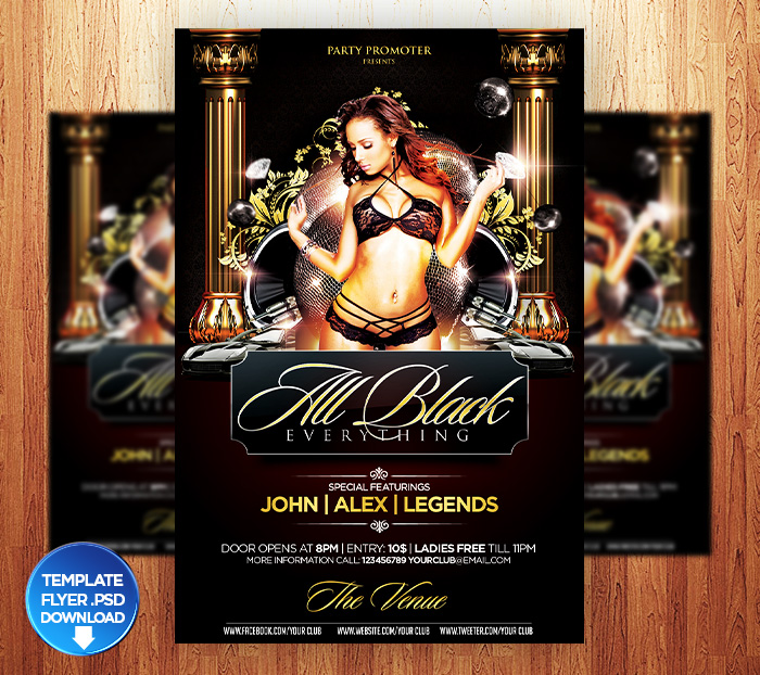 Birthday  All Black Flyer Template By Grandelelo On Deviantart