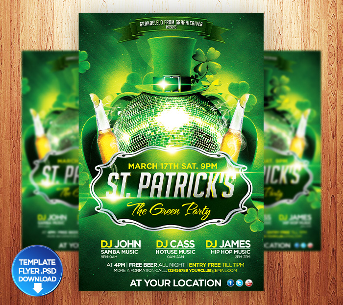 St. Patricks Flyer Template + Facebook