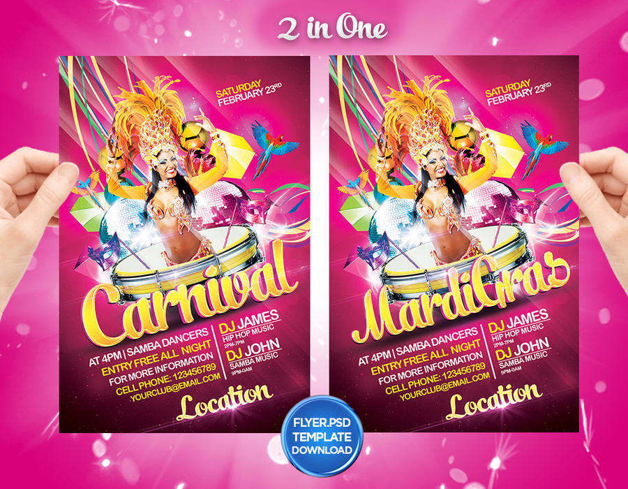 mardi gras carnival flyer template by grandelelo by grandelelo on