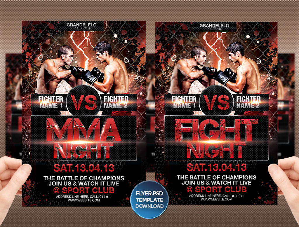 DOWNLOAD Fight or MMA Night Flyer Template by Grandelelo on DeviantArt