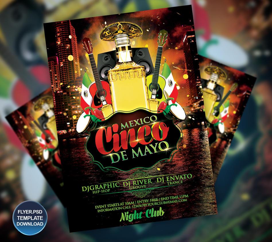 cinco de mayo flyer poster template by grandelelo on deviantart
